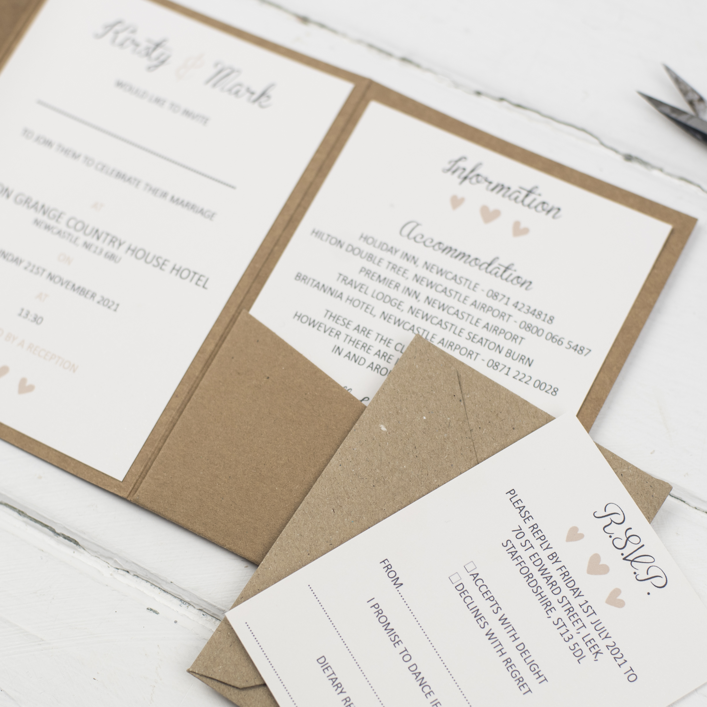Rural Wedding Invitations and Stationery information inserts inside wedding invitation by Inspired by Lisa