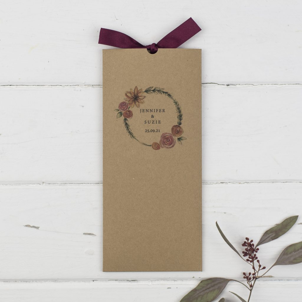 rustic wallet types of wedding invitations kraft card burgundy ribbon floral wreath names