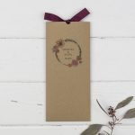 brown card wedding invitation tall wallet painted floral wreath burgundy ribbon bow