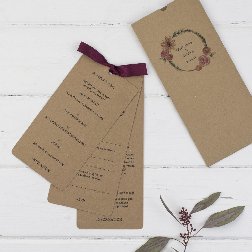 rustic wallet types of wedding invitations kraft card burgundy ribbon tied inserts floral wreath names
