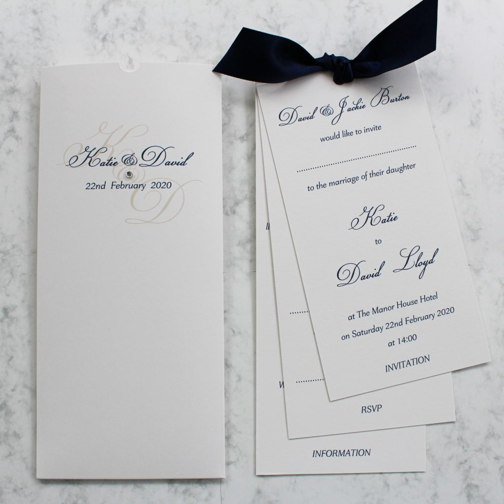types of wedding invitations wallet inserts tied navy ribbon ivory printed card