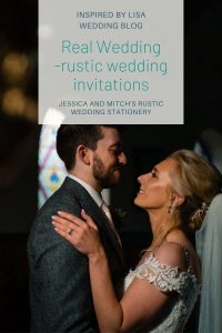 Bride and Groom wedding photo with rustic wedding invitations blog information graphic
