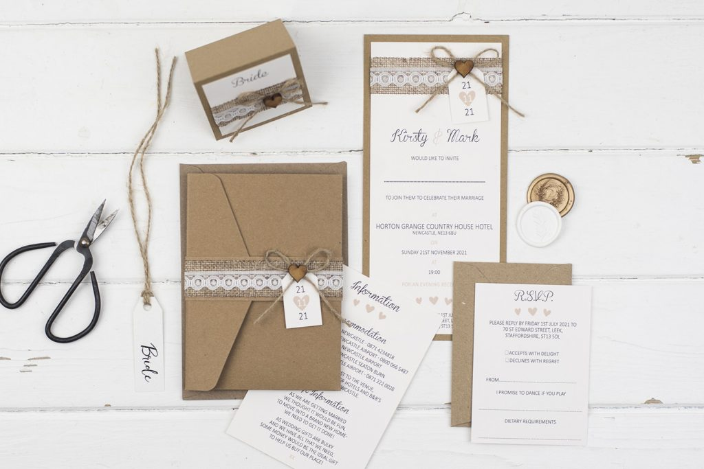 rustic handmade wedding invitation suite pocketfold flat invitation kraft burlap lace twine wooden heart