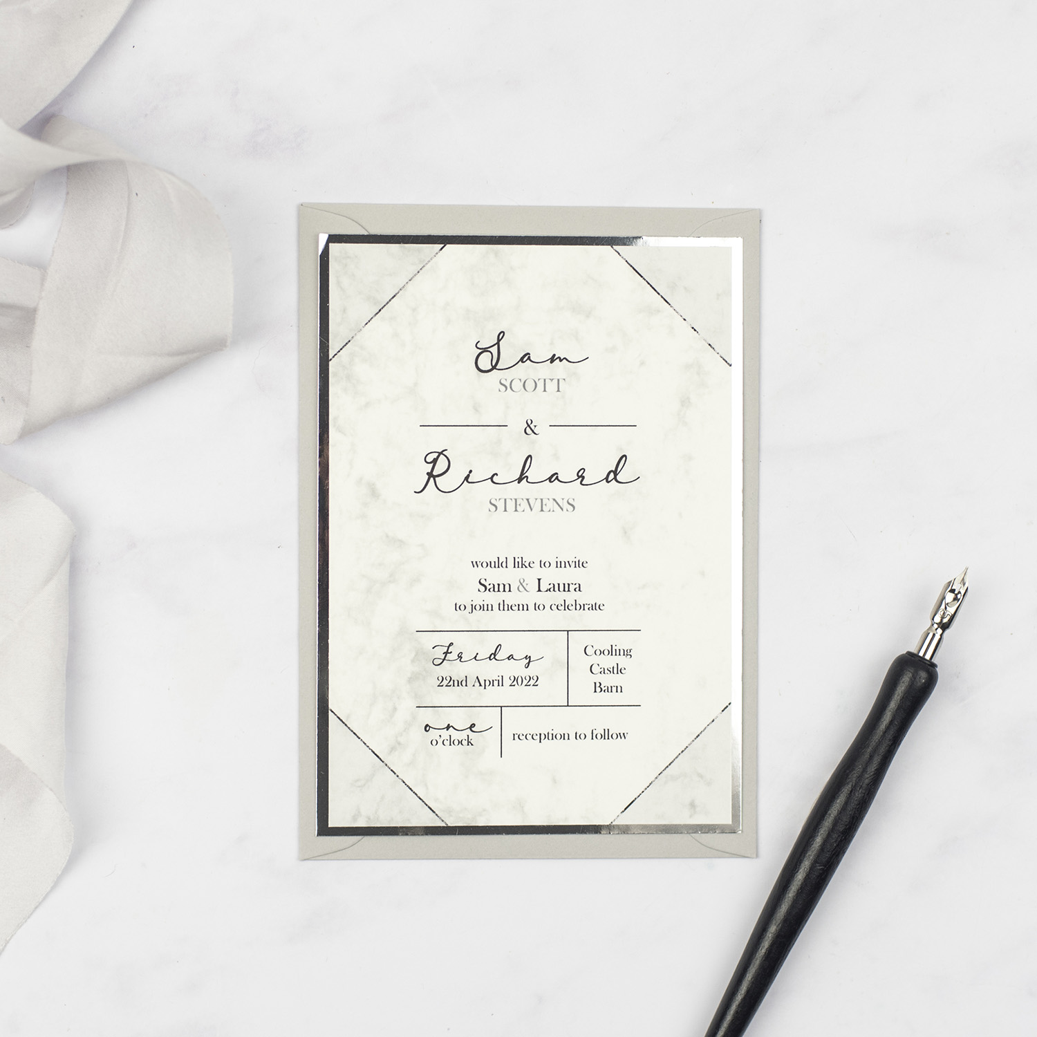 handmade wedding invitation marble effect geometric lines silver foil edge