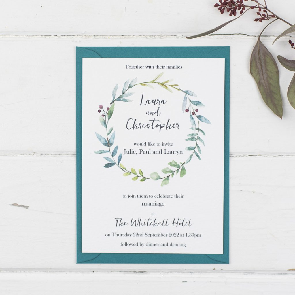 handmade wedding invitations invite painted foliage wreath textured white teal envelope
