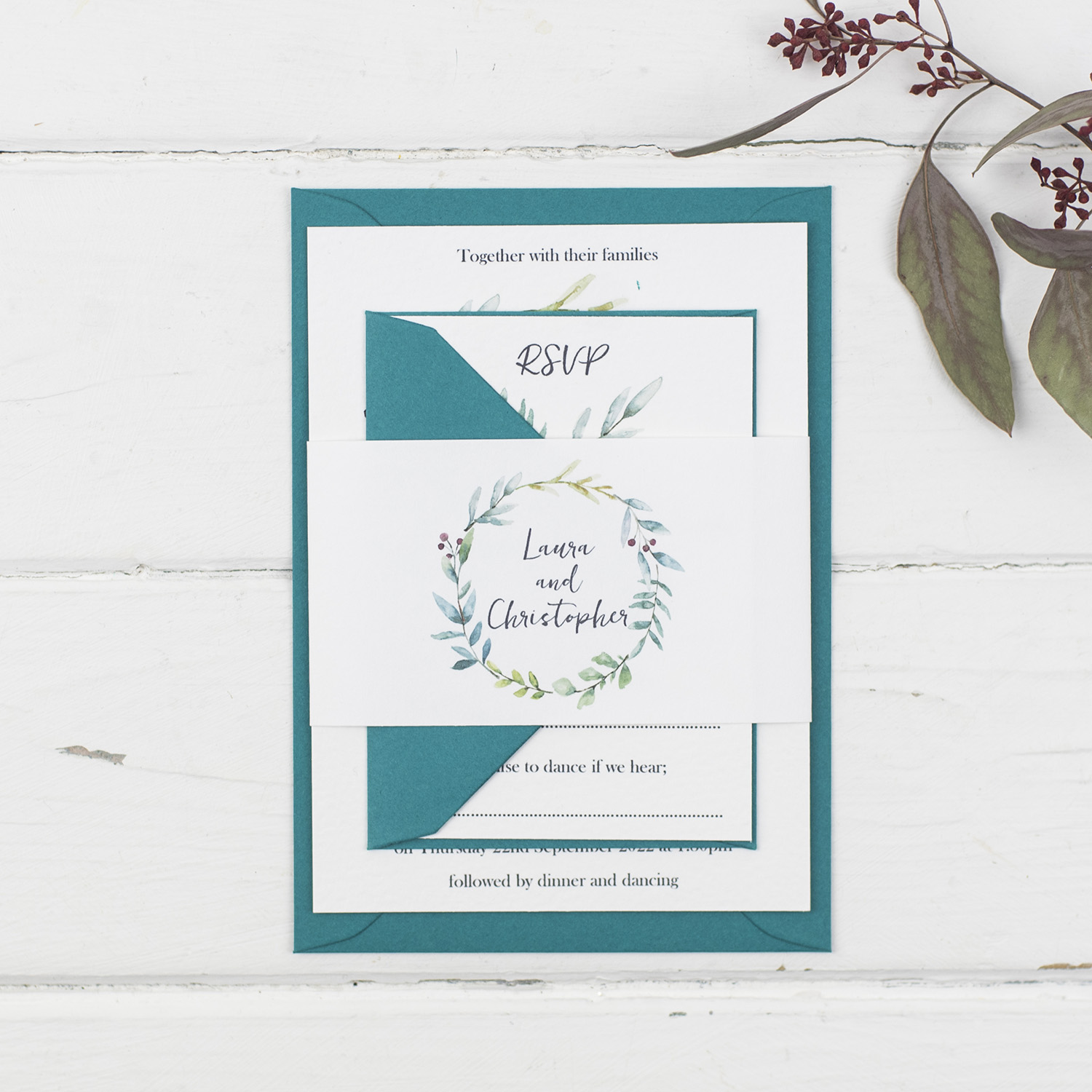 handmade wedding invitations invite rsvp bellyband white textured painted foliage wreath teal envelopes