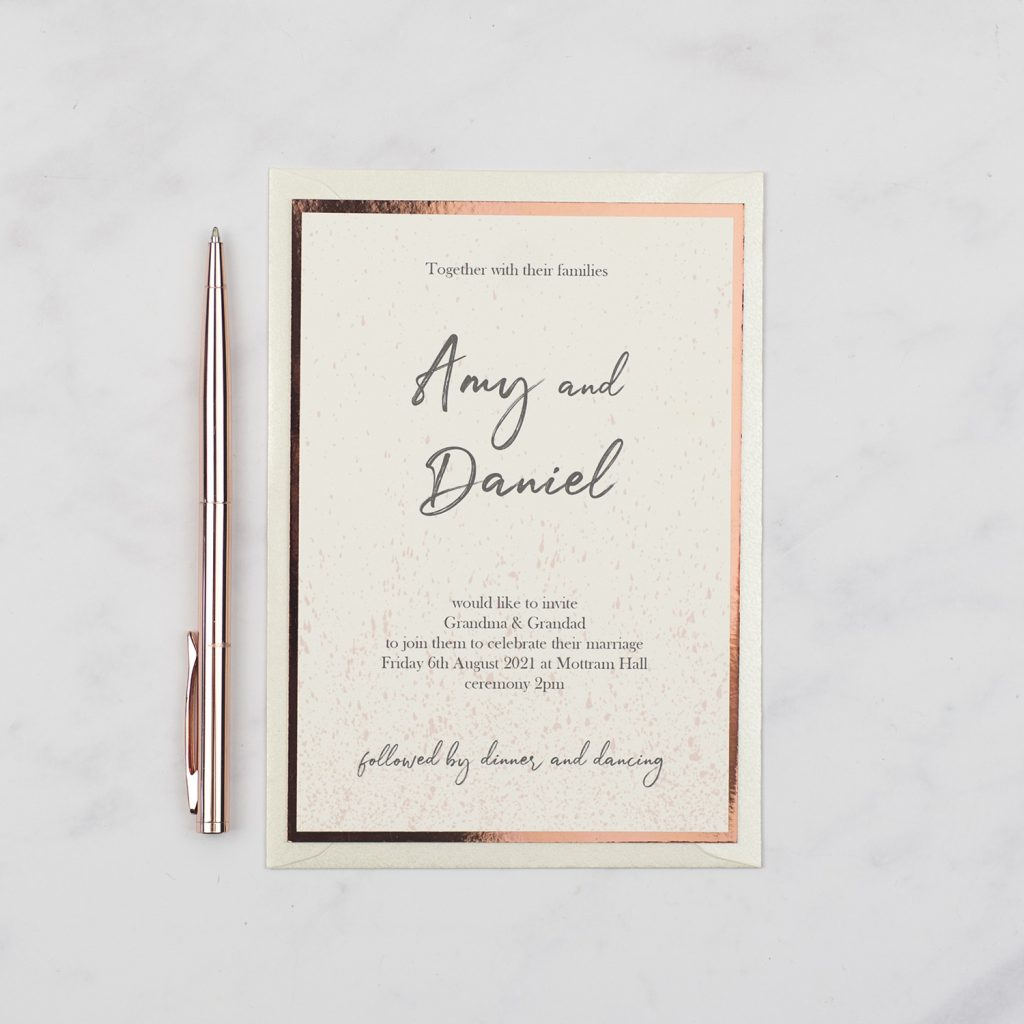luxury handmade wedding invite ivory card copper foil edge