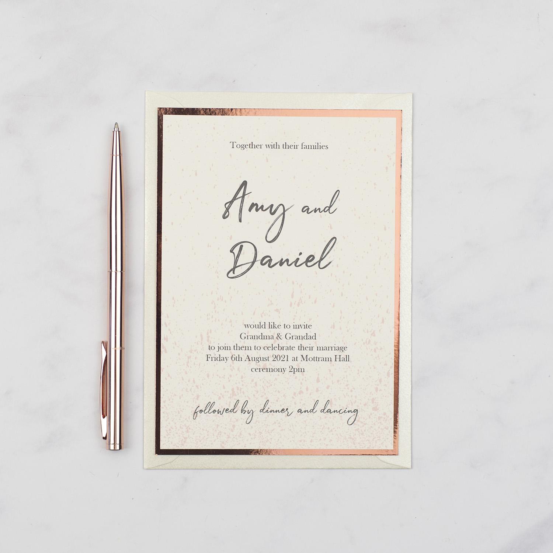 luxury handmade wedding invitation ivory card copper foil edge