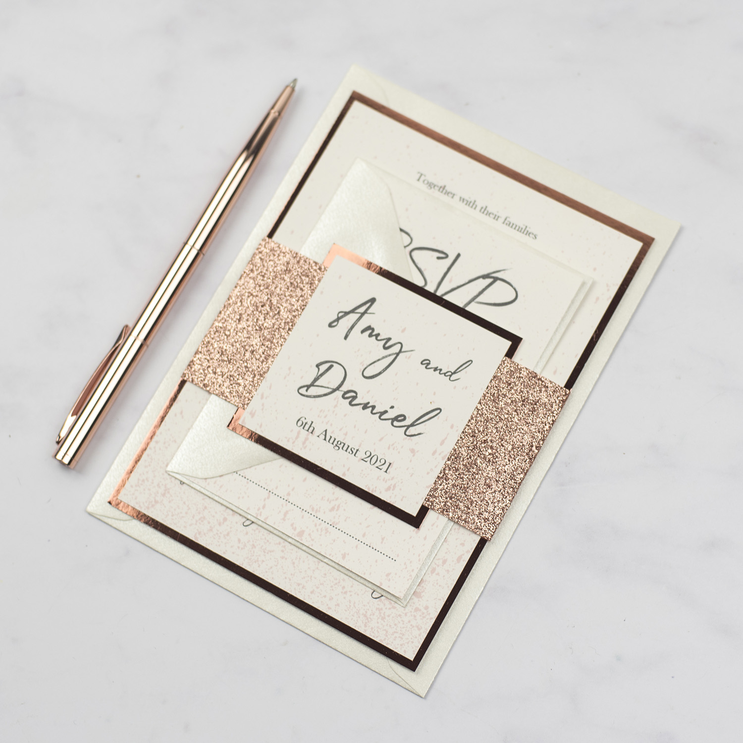 luxury handmade wedding invitation bundle rose gold glitter bellyband copper foil edge
