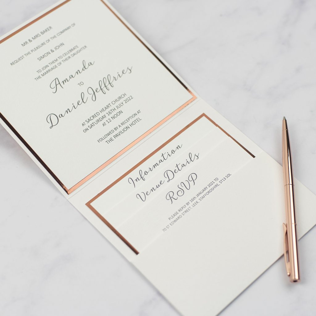 luxury handmade wedding invitations inside pocketfold 3 inserts invitation copper foil edge