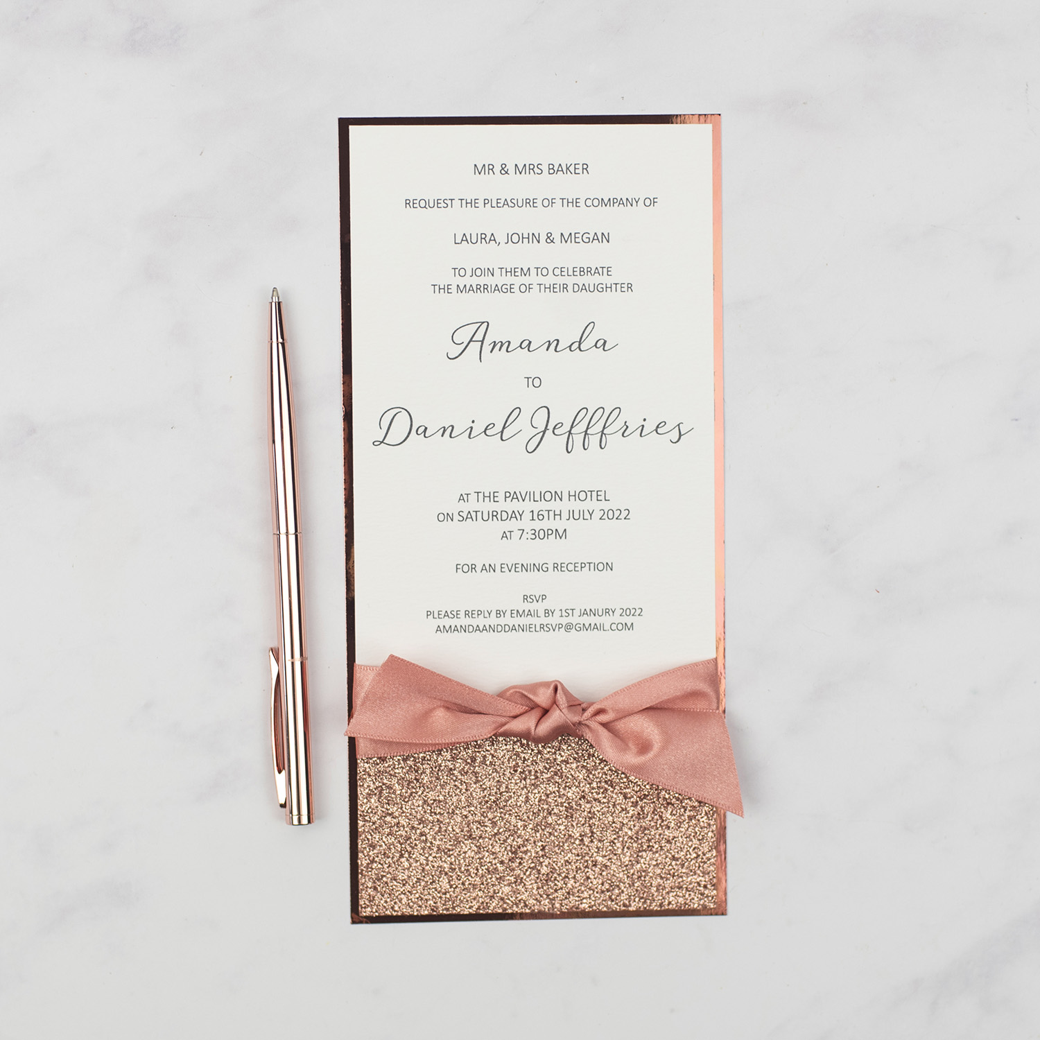 luxury wedding invitation flat invite rose gold glitter satin ribbon bow copper foil edge