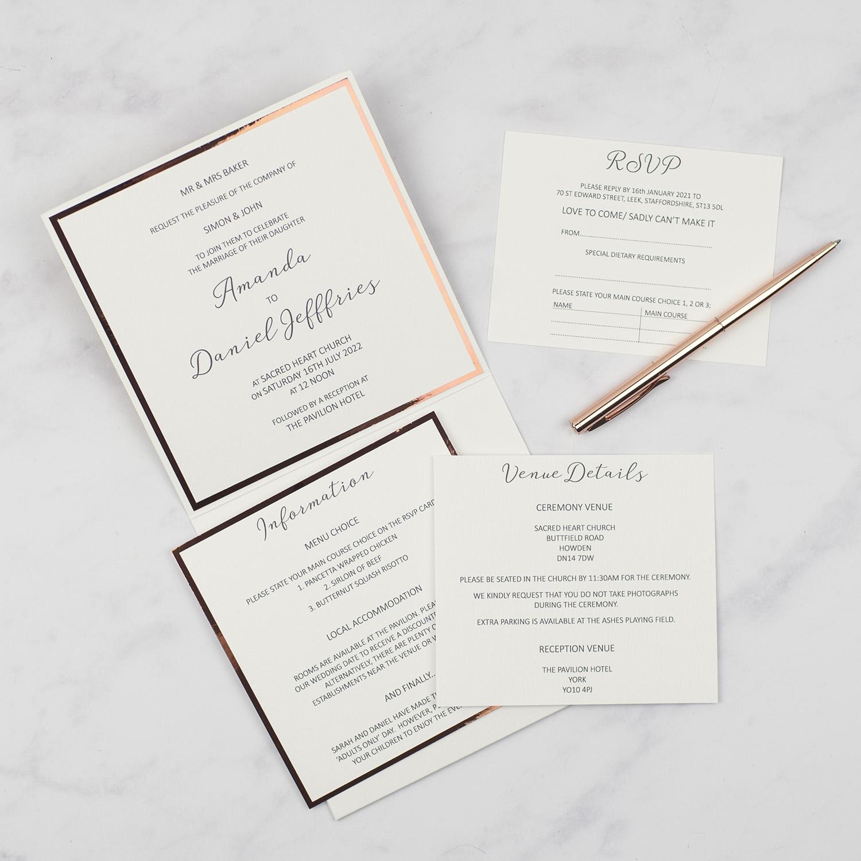 luxury handmade wedding invitations pocketfold inside inserts copper foil