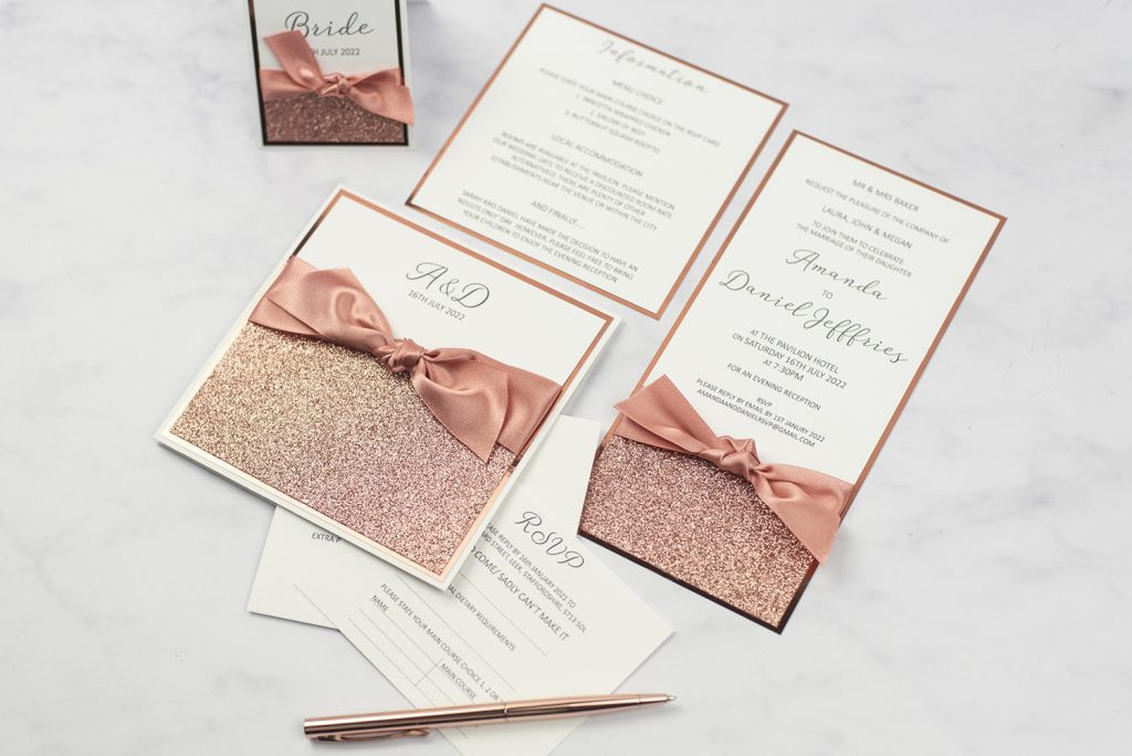 luxury handmade wedding invitations pocketold flat evening inserts rose gold glitter ribbon bow copper foil