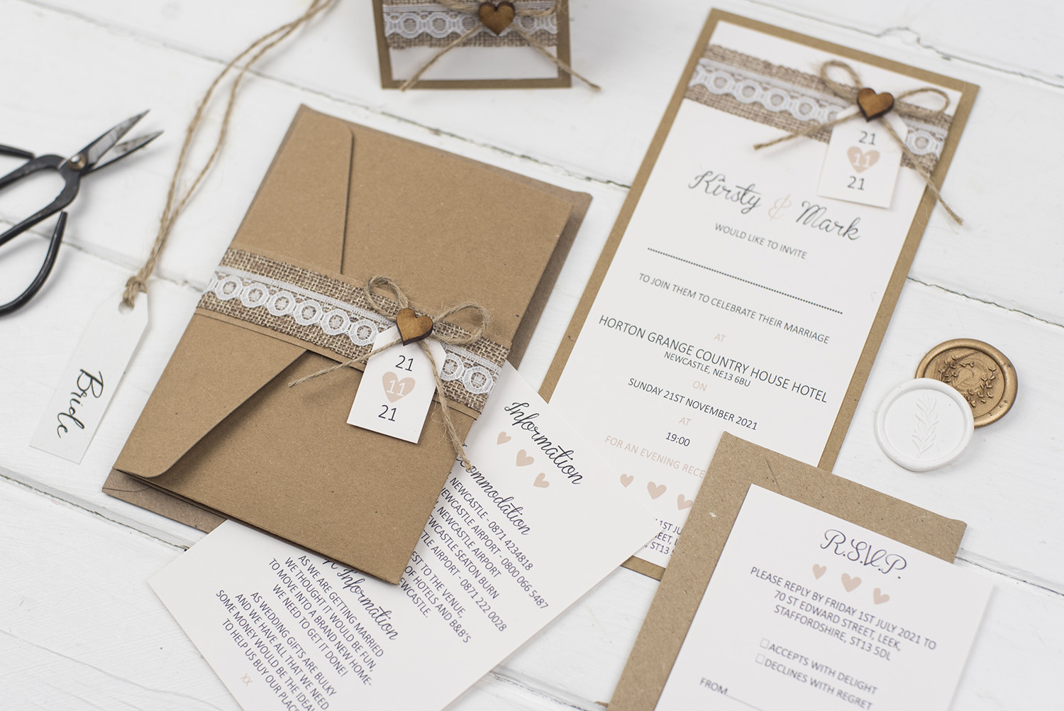 rustic handmade wedding invitation suite kraft pocketfold flat invite inserts bellyband burlap twine lace wooden heart