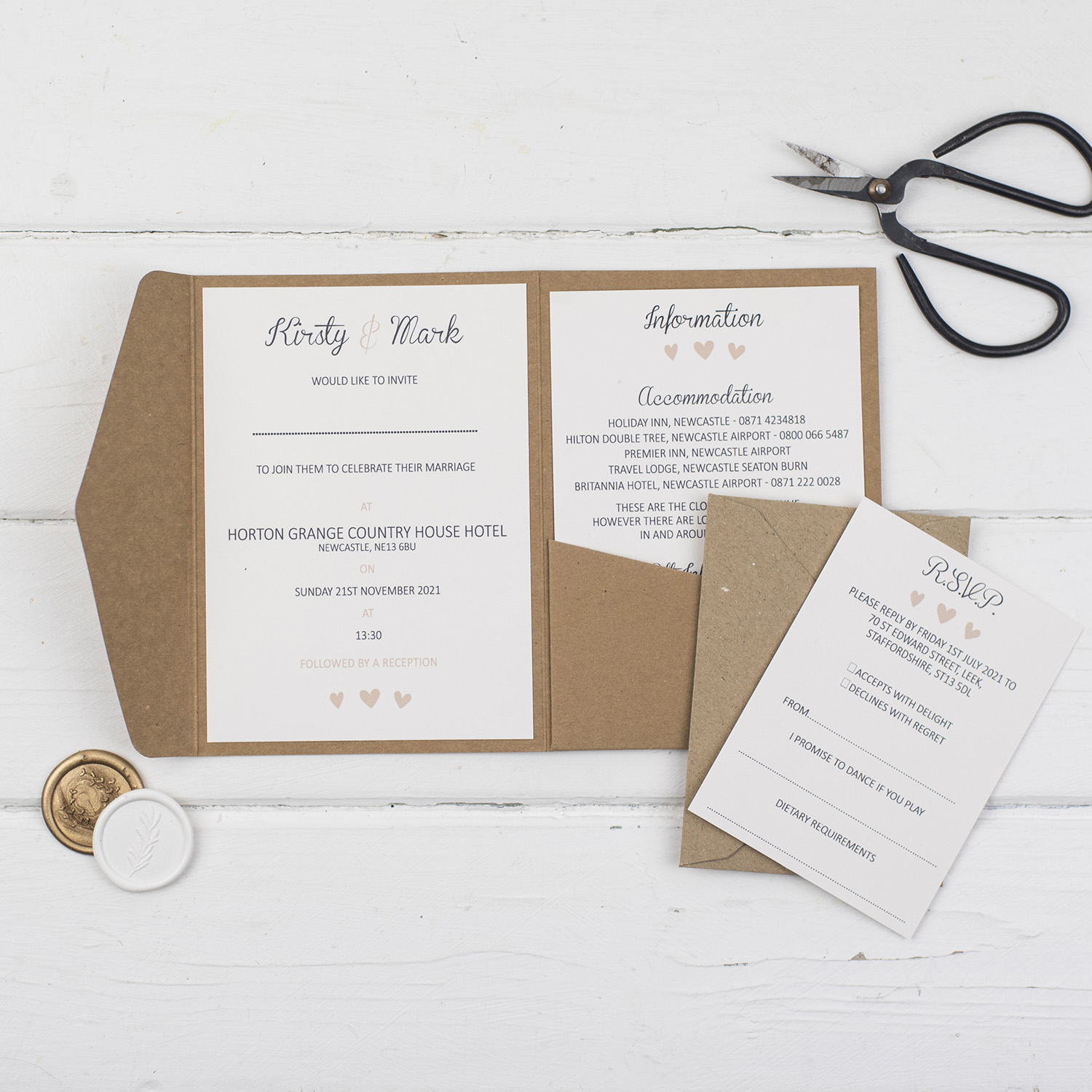 rustic handmade wedding invitations inside pocketold inserts kraft card