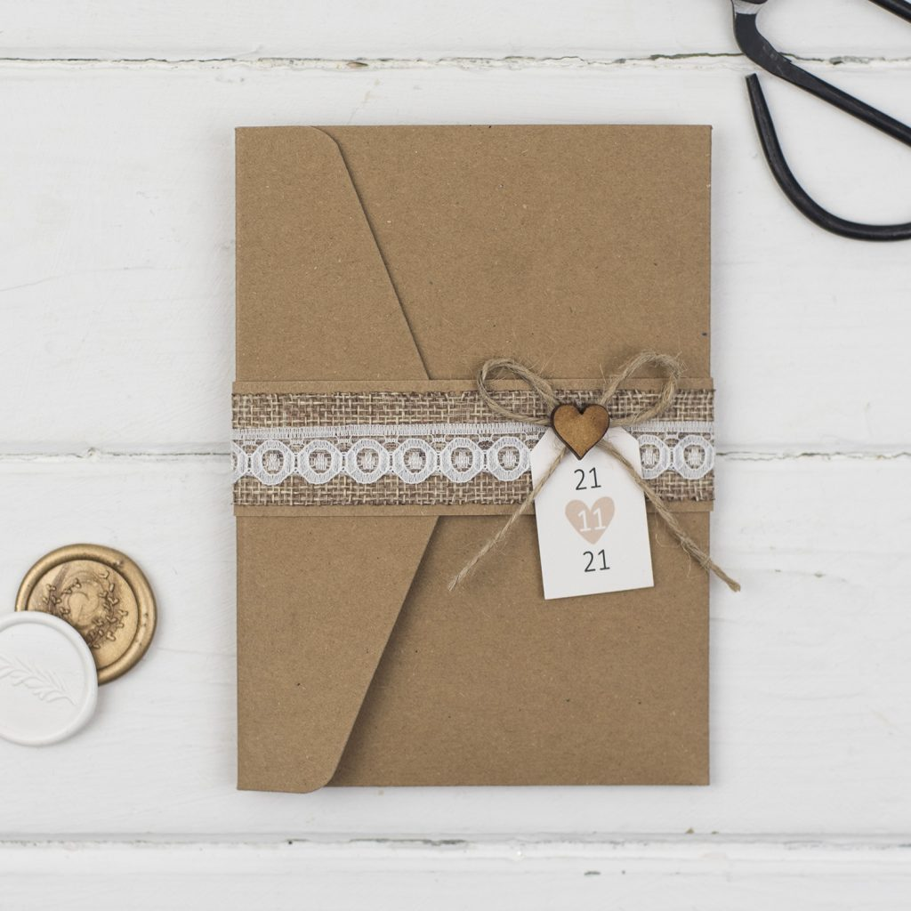 rustic handmade wedding invitations kraft card pocketfold burlap twine lace wooden heart bellyband