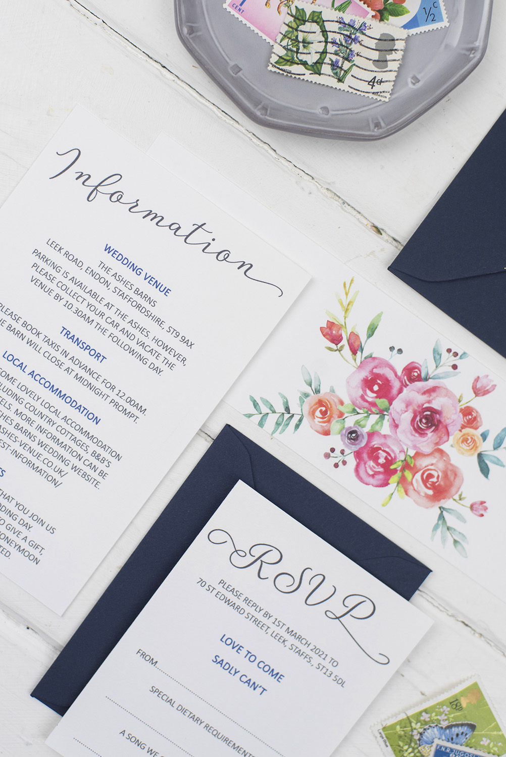 handmade wedding invites white navy painted colourful florals information bellyband rsvp