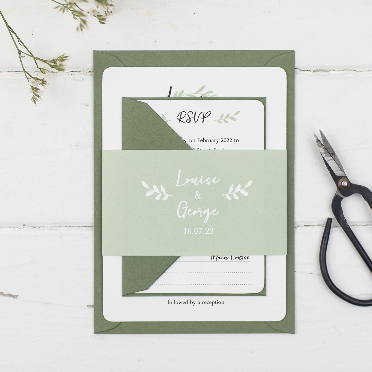 wedding invitation order white green leaf wreath silhouette dark green envelope invitation bundle