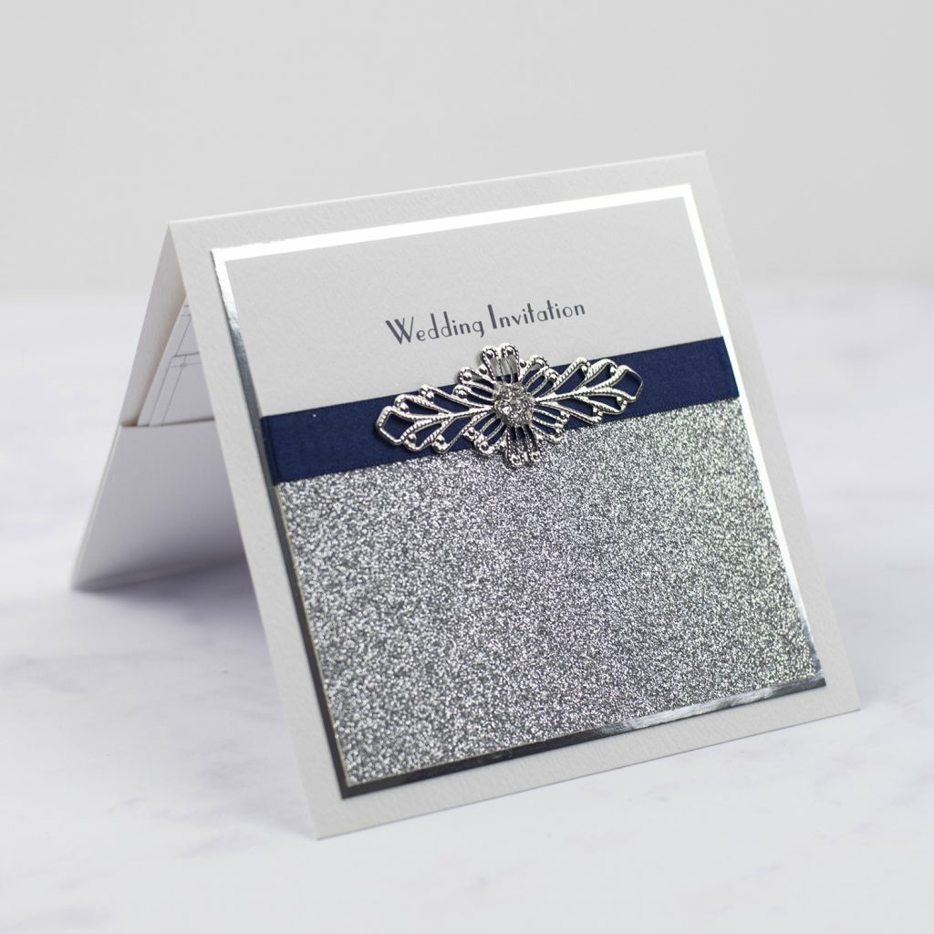 types of wedding invitations pocketfold invitation silver glitter foil edge navy ribbon wire crystal embellishment