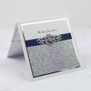 luxury wedding invitations pocketfold invitation silver glitter foil edge navy ribbon wire crystal embellishment