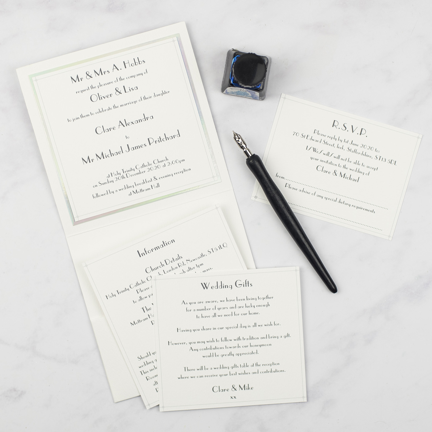 luxury wedding invitations white silver foil edge invitation inserts