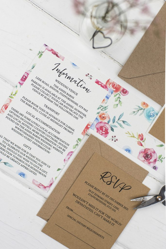 rustic wedding invites brown card painted colourful florals information rsvp inserts
