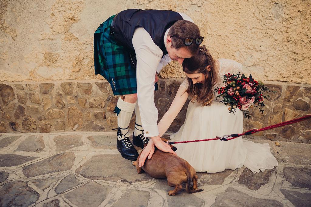 wedding checklist bride and groom dog bouquet stone wall
