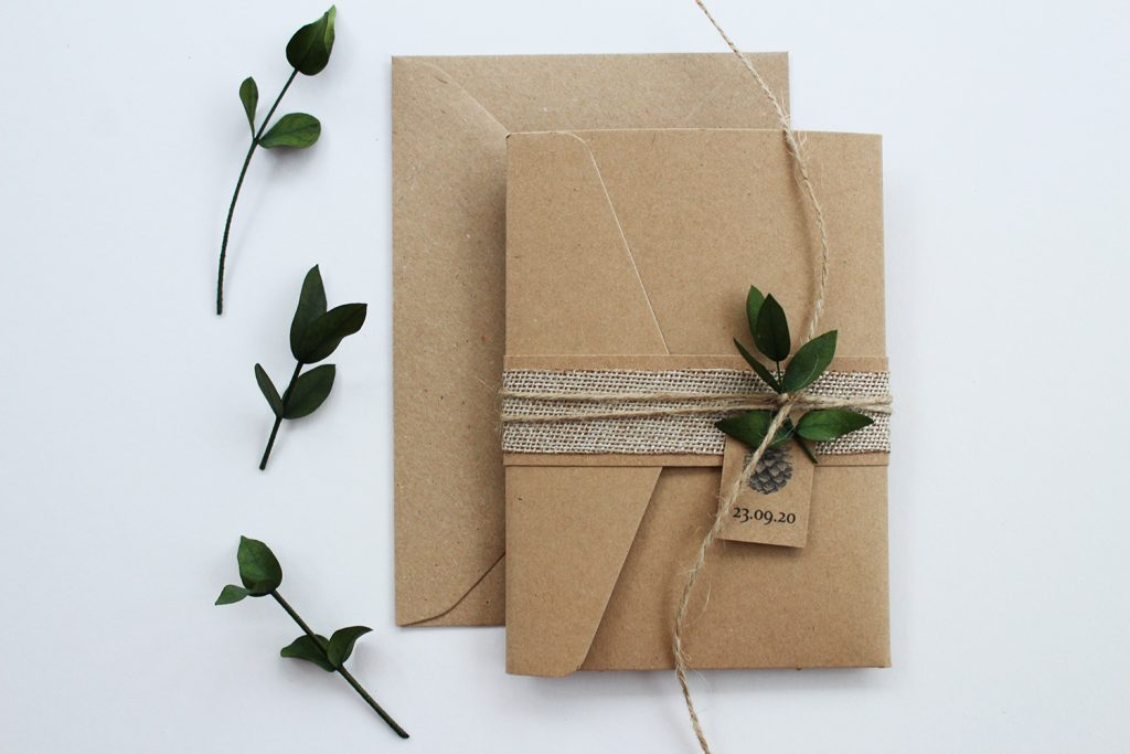wedding stationery staffordshire wedding invitation brown card burlap twine eucalyptus sprig