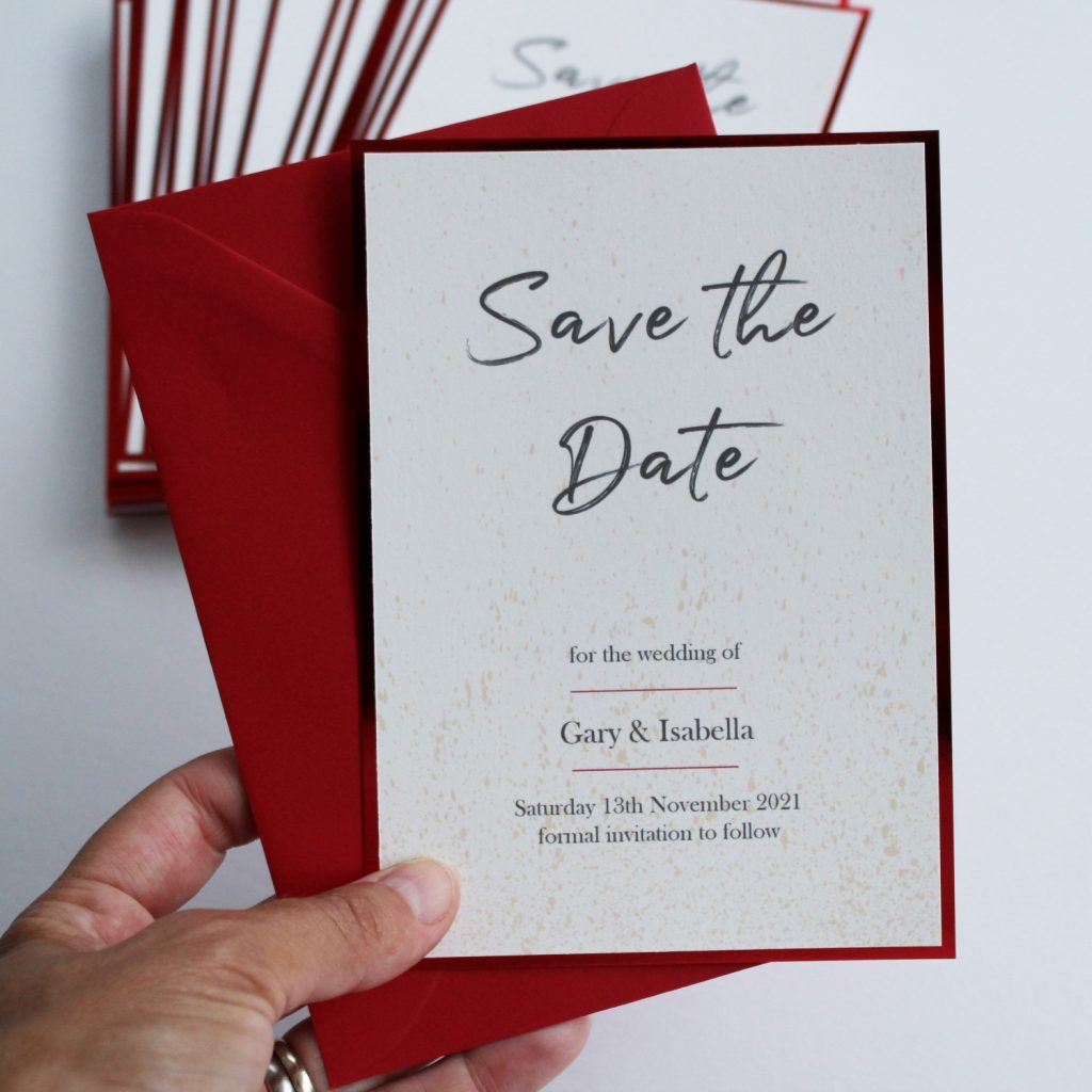 wedding invites save the date card ivory with red foil edge hand holding