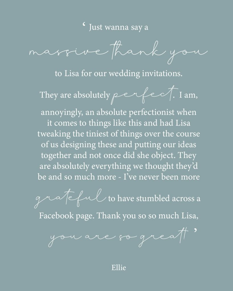 wedding invites text reading excellent customer review for Lisa