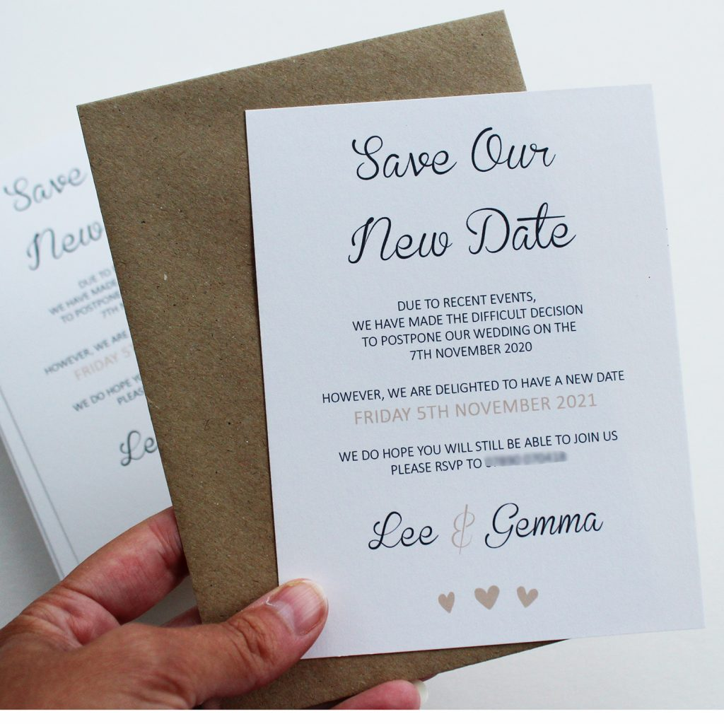 wedding save the data cards postponement ivory Kraft brown envelope hand holding