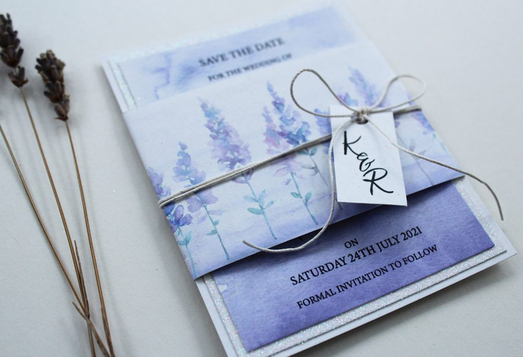 wedding save the dates lilac watercolour floral tag white string bow dried lavendar
