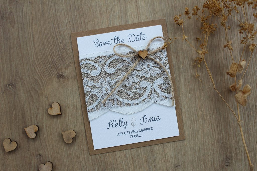wedding save the date cards rustic lace burlap twine bow wooden heart dried flowers