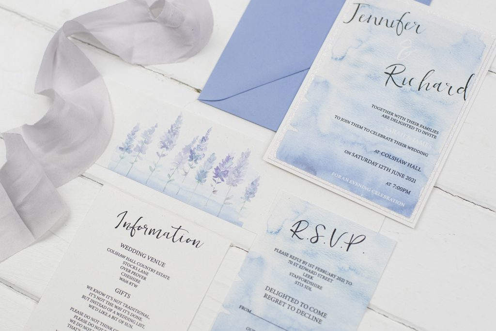 diy wedding invitations flay lay invitation information rsvp belly band silk ribbon white lavendar