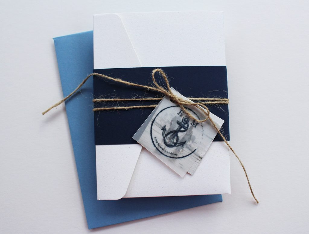 diy wedding invitation white invite navy blue belly band twine printed logo tag