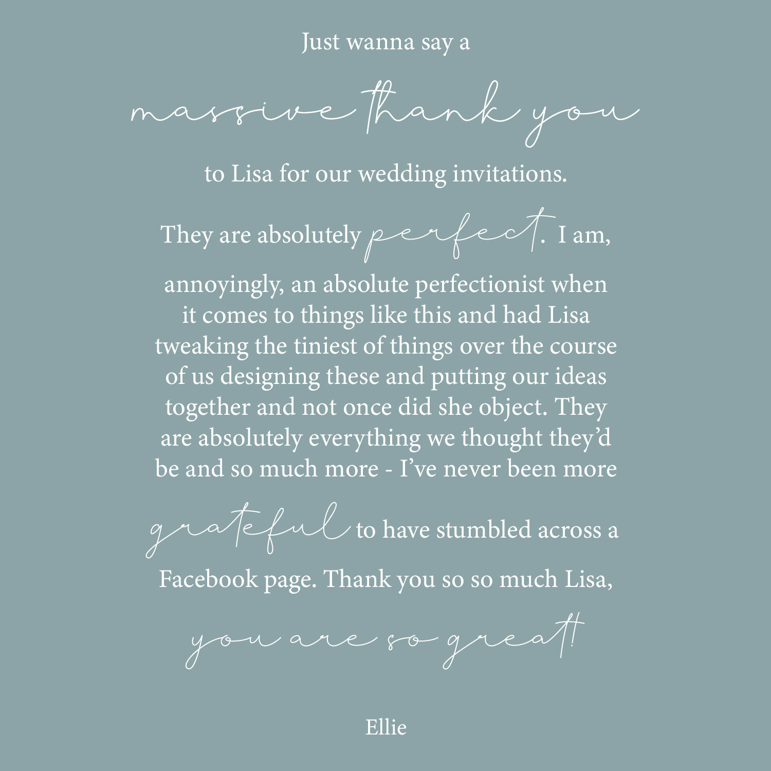 wedding invitation order graphic review wording blue background