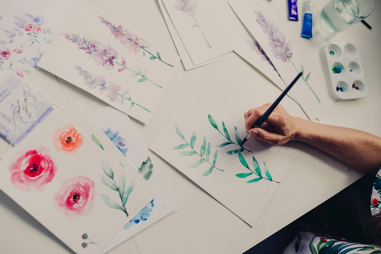 luxury wedding invites hand painting watercolour leaves